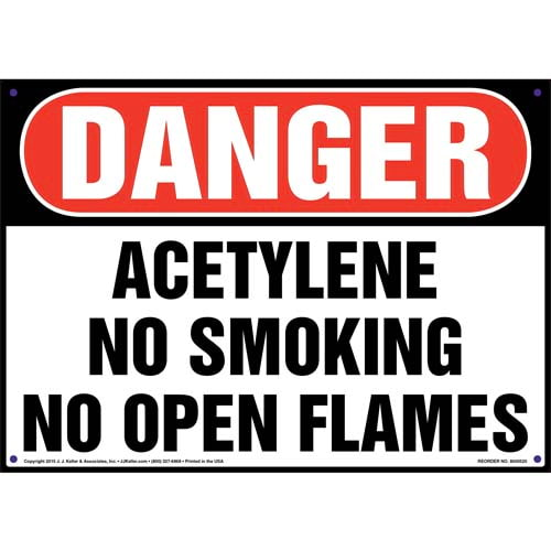 Danger: Acetylene No Smoking No Open Flames Sign - OSHA (011749)
