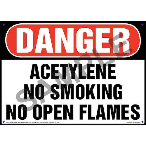 Danger: Acetylene No Smoking No Open Flames Sign - OSHA (011749)