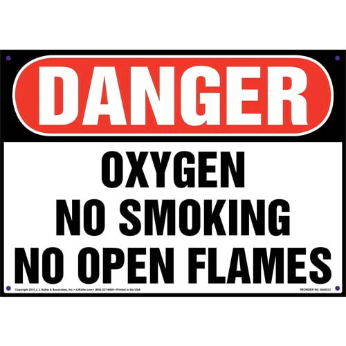 Danger: Oxygen No Smoking/Open Flames Sign - OSHA (011750)