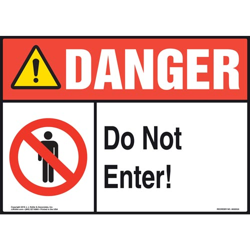 Danger: Do Not Enter Sign with Icons - ANSI (011753)