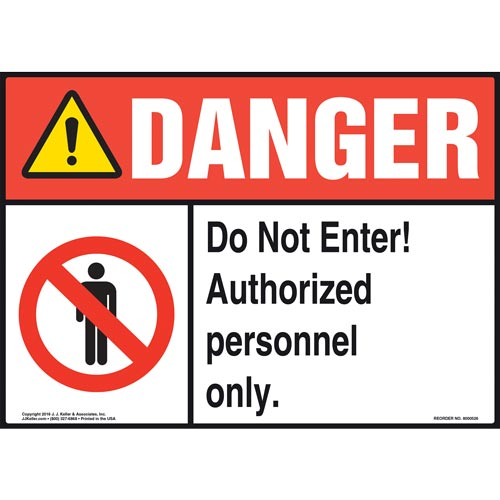 Danger: Do Not Enter Authorized Personnel Only Sign with Icons - ANSI (011755)