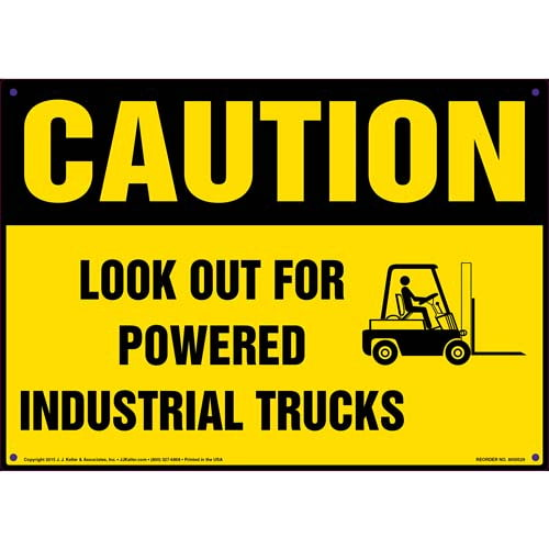 Caution: Look Out For Powered Industrial Trucks Sign with Icon - OSHA (011758)