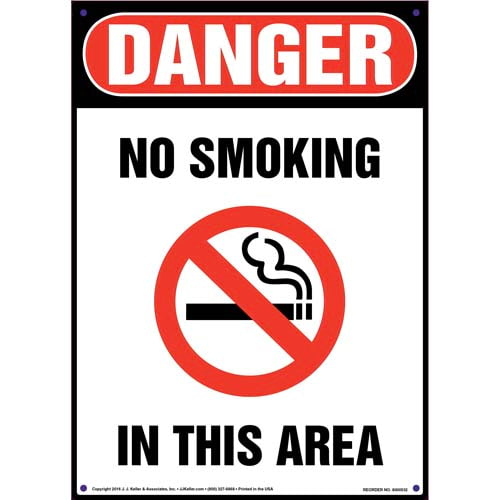 Danger: No Smoking In This Area Sign - OSHA, Portrait (011761)