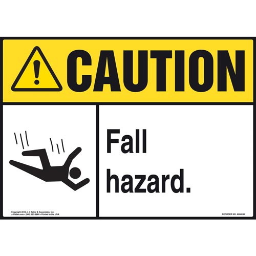 Caution: Fall Hazard - ANSI Sign (011765)