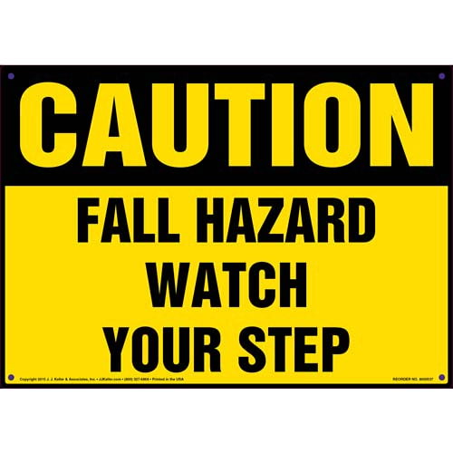 Caution: Fall Hazard Watch Your Step - OSHA Sign (011766)