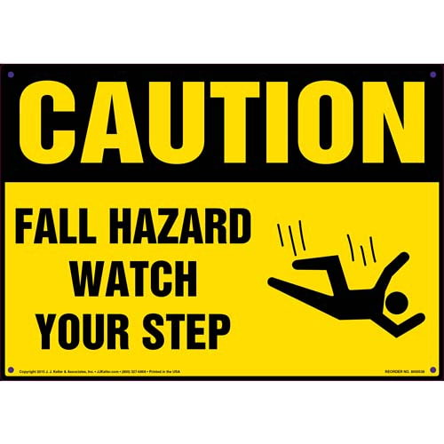 Caution: Fall Hazard Watch Your Step - OSHA Sign (011767)