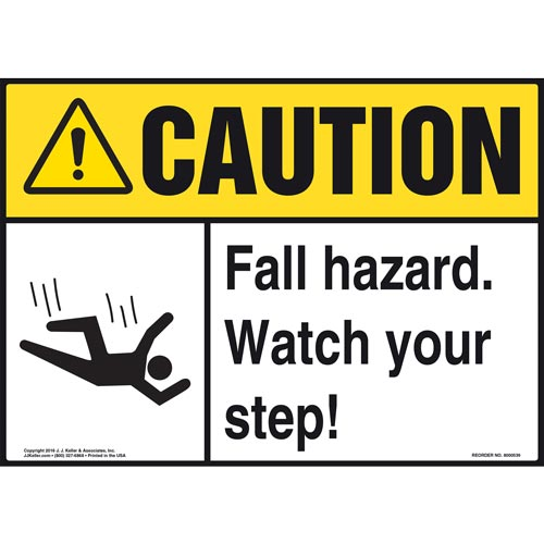 Caution: Fall Hazard Watch Your Step - ANSI Sign (011768)