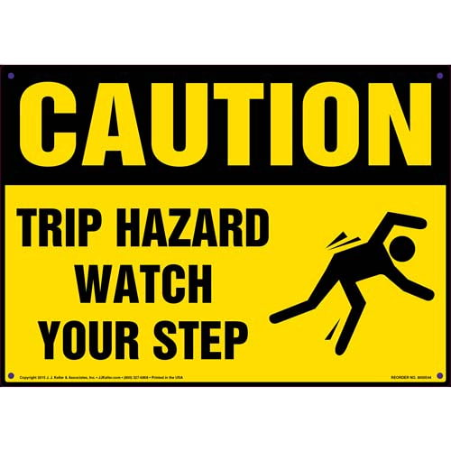 Caution: Tripping Hazard Watch Your Step - OSHA Sign (011773)