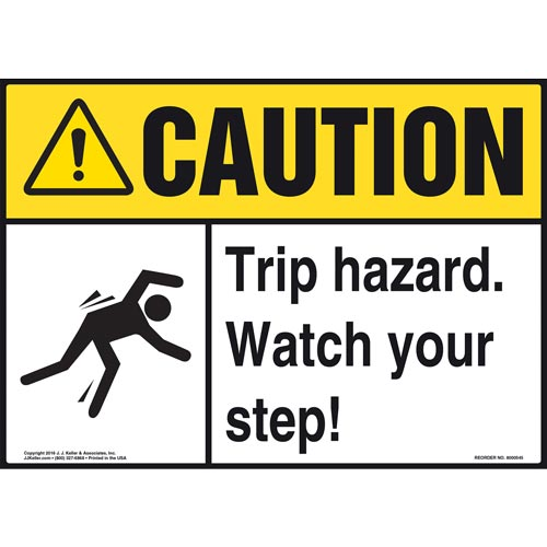 Caution: Tripping Hazard Watch Your Step - ANSI Sign (011774)