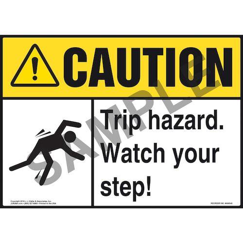 Caution: Tripping Hazard Watch Your Step - ANSI Sign (011774)