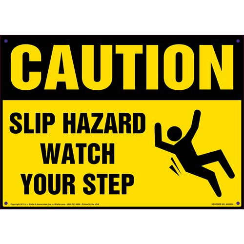 Caution: Slip Hazard Watch Your Step - OSHA Sign (011779)