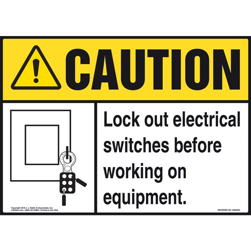 Caution: Lock Out Switches Before Working On Equipment - ANSI Sign (011784)