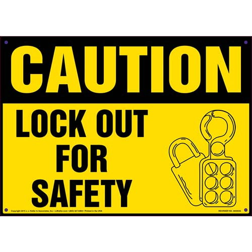 Caution: Lock Out For Safety - OSHA Sign (011785)