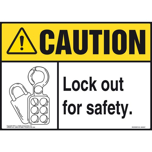 Caution: Lock Out For Safety - ANSI Sign (011786)