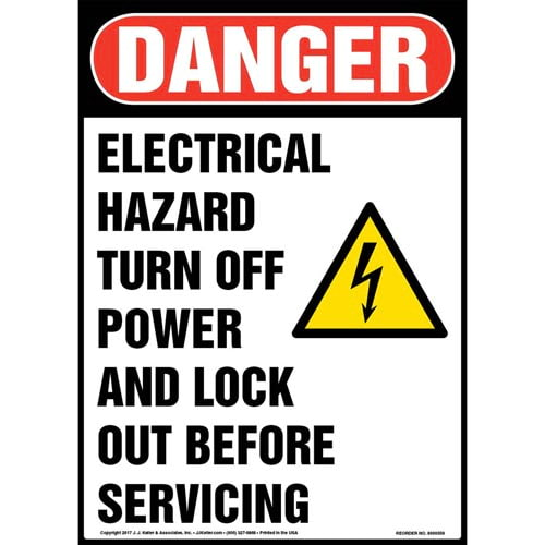 Danger: Electrical Hazard Turn Off Power And Lock Out Before Servicing - OSHA Sign (011788)