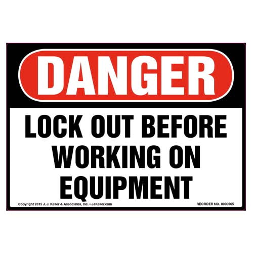 Danger: Lock Out Before Working On Equipment - OSHA Label (011794)