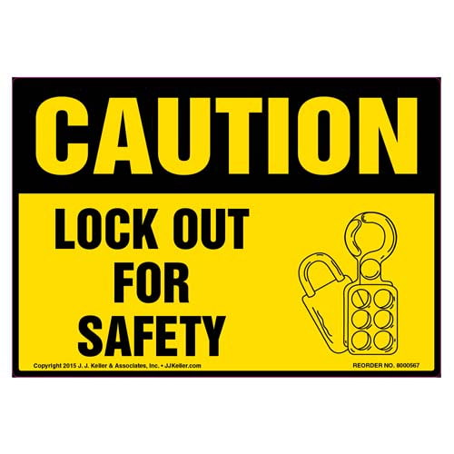 Caution: Lock Out For Safety - OSHA Label (011796)