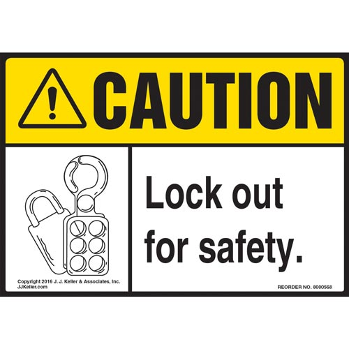 Caution: Lock Out For Safety - ANSI Label (011797)
