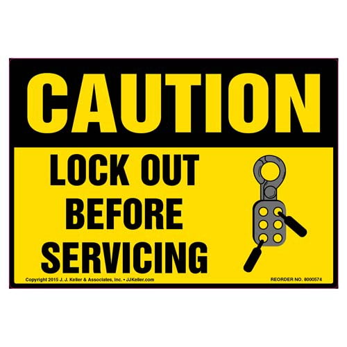 Caution: Lock Out For Safety Before You Start - OSHA Label (011803)