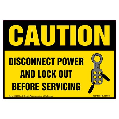 Caution: Disconnect Power And Lock Out Before Servicing - OSHA Label (011804)