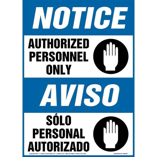 Notice: Authorized Personnel Only - OSHA Bilingual Sign (011806)