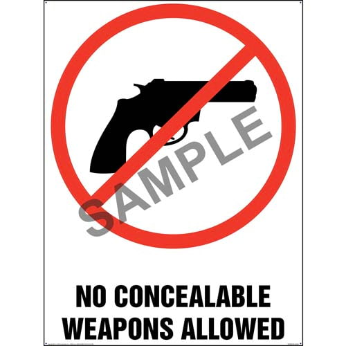 No Concealable Weapons Allowed Sign (011810)