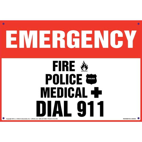 Emergency: Fire, Police, Medical Dial 911 Sign (011813)