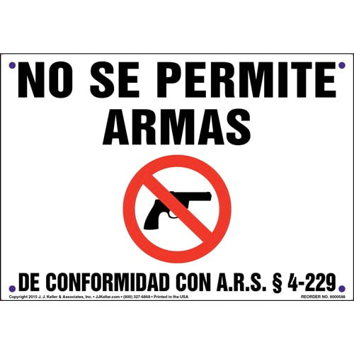 Arizona: No Firearms Allowed - Spanish Sign (011817)