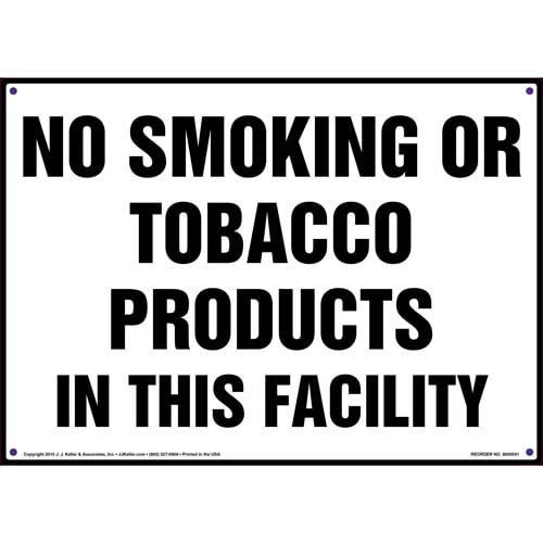 No Smoking or Tobacco Products In This Facility Sign (011820)