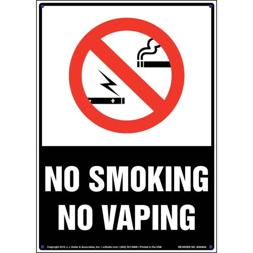 No Smoking No Vaping Sign with Icon - Portrait (011836)
