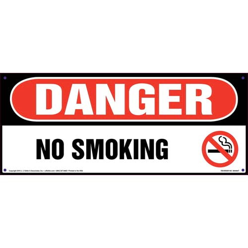 Danger: No Smoking Sign with Icon - OSHA, Long Format (011837)