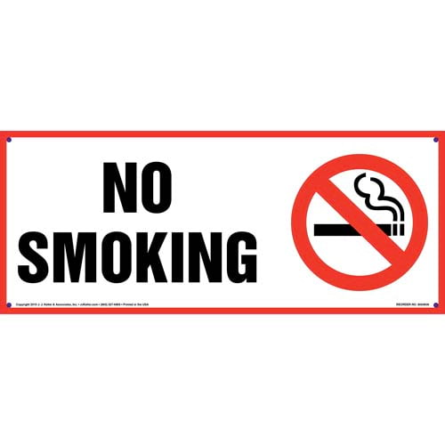 No Smoking Sign with Icon - Red Border, Long Format (011838)