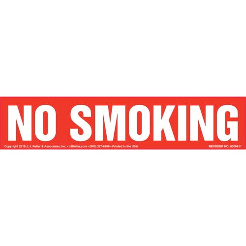 No Smoking Label - White Text on Red, Long Format (011841)