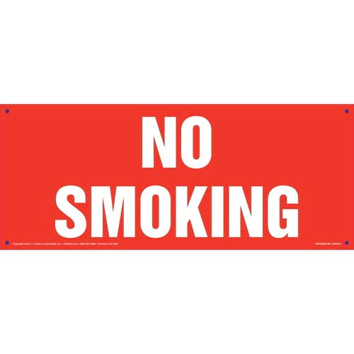 No Smoking Sign - White Text on Red, Long Format (011842)