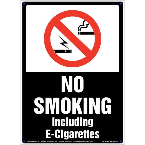No Smoking Including E-Cigarettes Sign (011845)