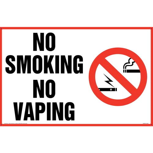 No Smoking No Vaping Sign with Icon - Landscape (011846)