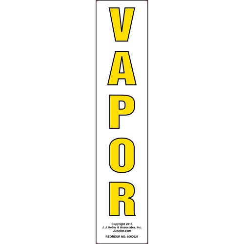Vapor Label - Yellow Text, Vertical (011856)