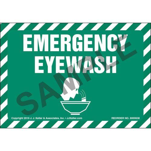 Emergency Eyewash Label With Graphic (011873)