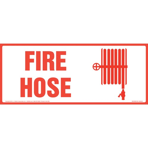 Fire Hose Sign with Icon - Long Format (011879)