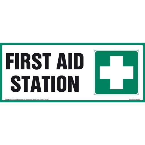 First Aid Station Sign With Graphic (011880)