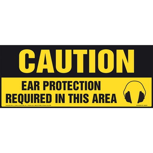 Caution: Ear Protection Required In This Area With Graphic - OSHA Sign (011893)