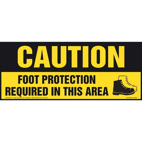 Caution: Foot Protection Required In This Area With Graphic - OSHA Sign (011895)