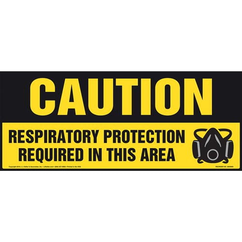 Caution: Respiratory Protection Required In This Area With Graphic - OSHA Sign (011896)