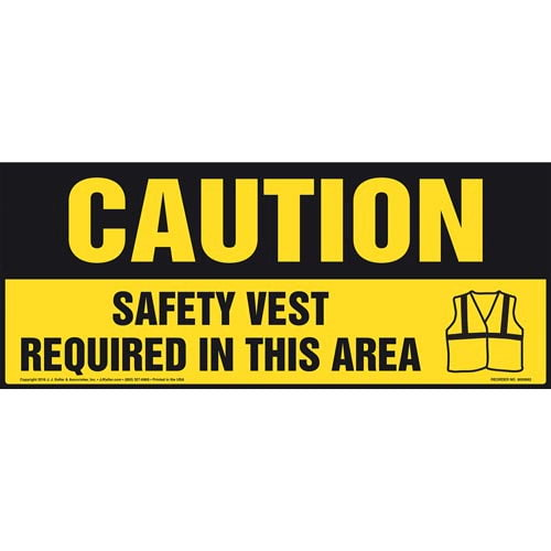 Caution: Safety Vest Required In This Area With Graphic - OSHA Sign (011898)