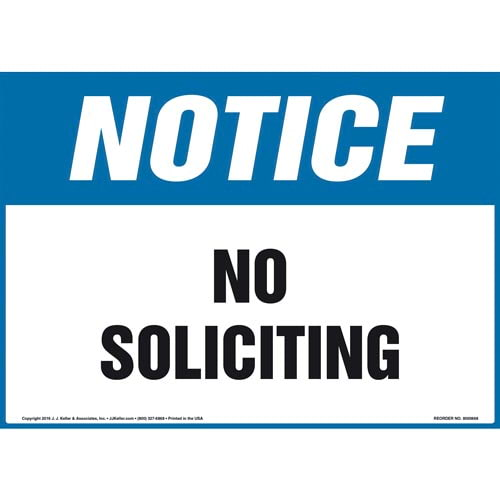 Notice: No Soliciting Sign - OSHA (011904)