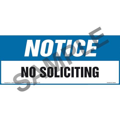 Notice: No Soliciting Sign - OSHA, Long Format (011905)