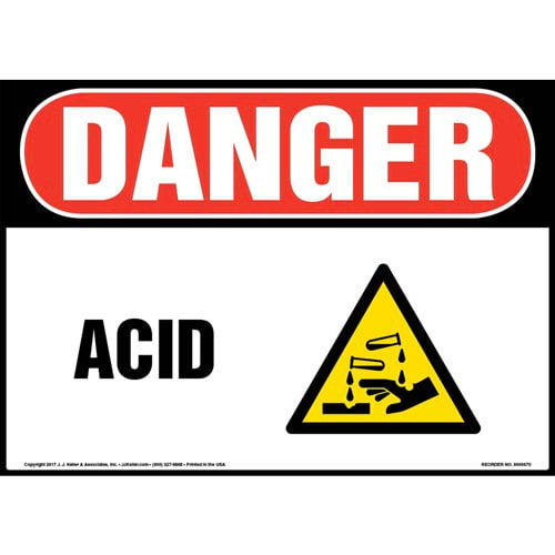 Danger: Acid With Graphic - OSHA Sign (011906)