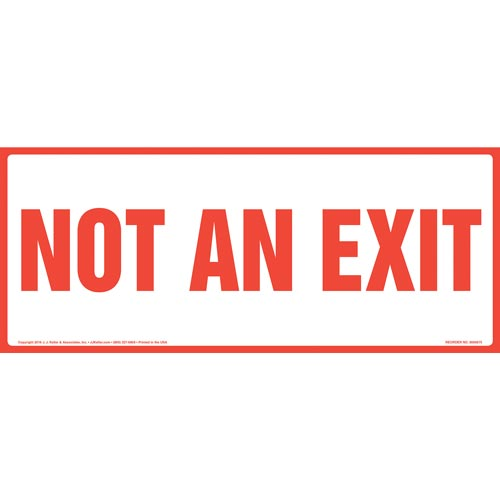 Not An Exit Sign - Red Text on White, Long Format (011911)