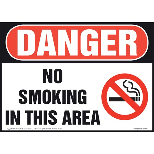 Danger: No Smoking In This Area Sign - OSHA, Landscape (011919)