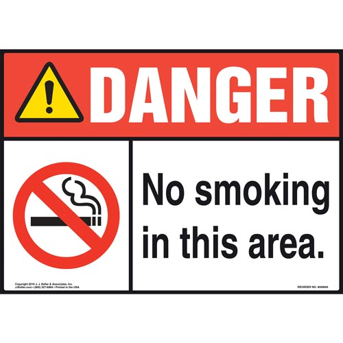 Danger: No Smoking In This Area Sign - ANSI, Landscape (011920)